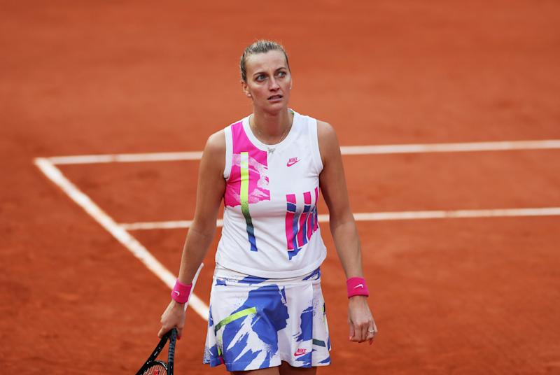 Petra Kvitova reacts during the women's singles semifinal match against Sofia Kenin at the French Open.