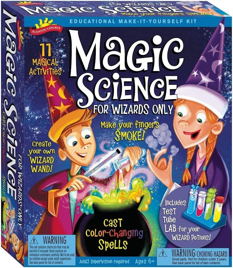 <p>If your kid has a curious mind, this <span>Scientific Explorer Magic Science for Wizards Only Kids Science Kit</span> ($13, originally $20) is perfect. It helps your child explor the use of scientific tools.</p>