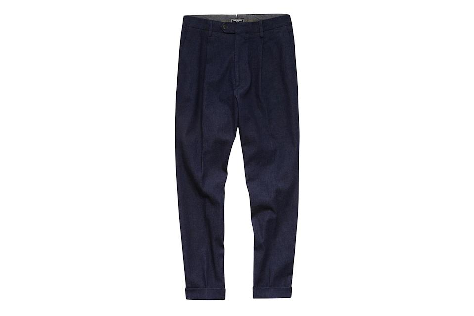 """$268, Todd Snyder. <a href=""""https://www.toddsnyder.com/collections/denim/products/denim-pleated-pant-indigo"""" rel=""""nofollow noopener"""" target=""""_blank"""" data-ylk=""""slk:Get it now!"""" class=""""link rapid-noclick-resp"""">Get it now!</a>"""