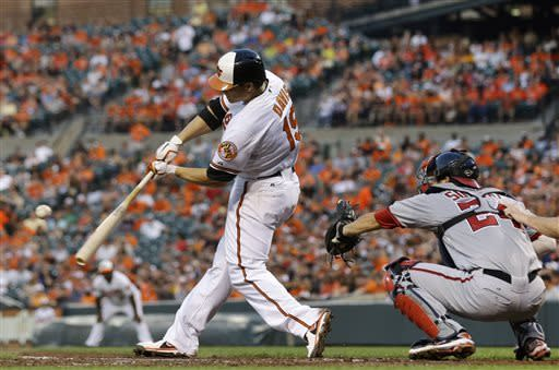 Baltimore Orioles' Chris Davis hits a solo home run in the fourth inning of an interleague baseball game against the Washington Nationals, Wednesday, May 29, 2013, in Baltimore. (AP Photo/Patrick Semansky)