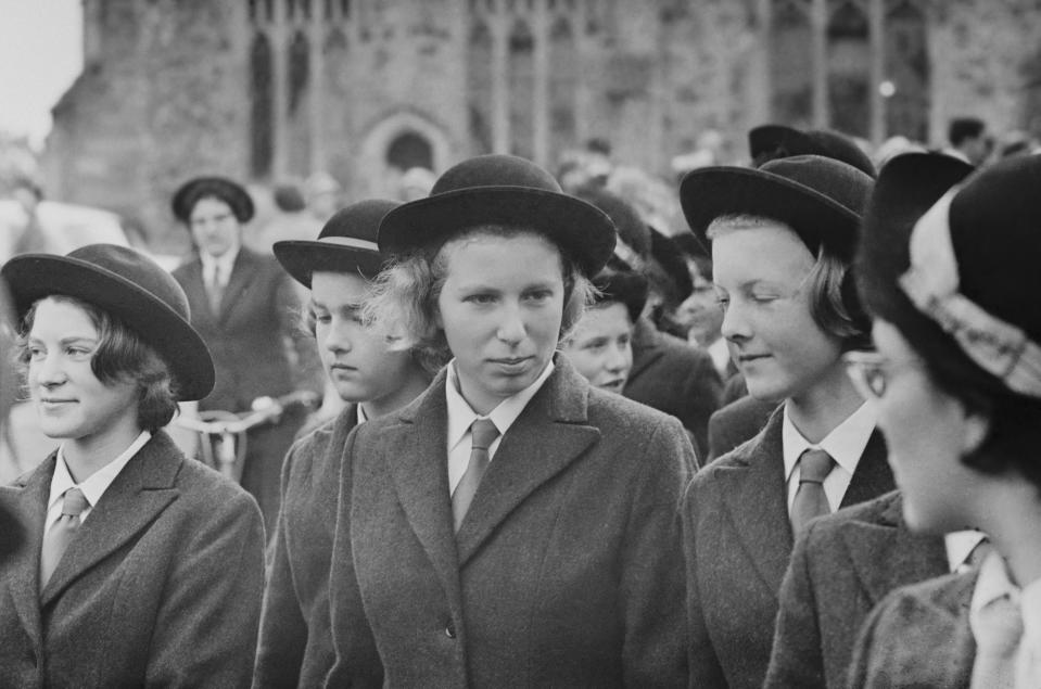 Princess Anne pictured in centre with fellow pupils during her first term at Benenden School for girls in Kent, in 1963. [Photo: Getty]