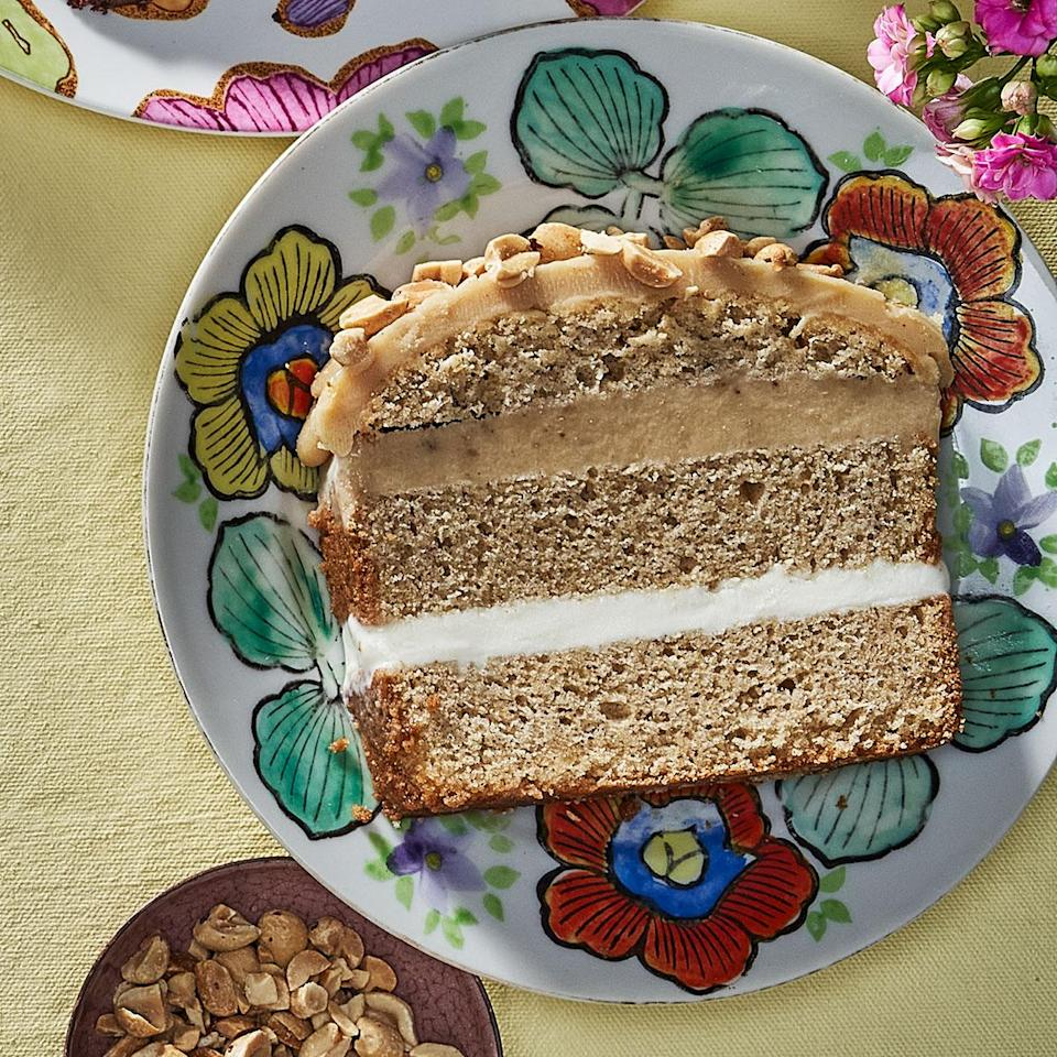 <p>This grown-up version of ice cream cake is a little sweet and a little salty. The yogurt cake gets its distinct flavor from freeze-dried banana slices--they can be pulverized into a powder (unlike regular dried bananas, which have a chewy texture).</p>
