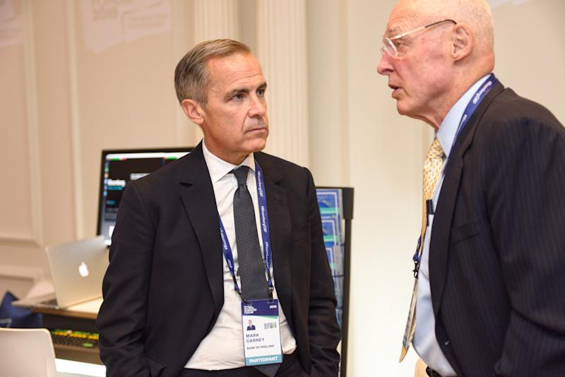 Mark Carney, Governor of Bank of England, and Henry M. Paulson, Jr., Chairman of the Paulson Institute and Former Secretary of the Treasury, at the 3rd annual Bloomberg Global Business Forum in New York City on September 25, 2019 at The Plaza Hotel. (Source: Bloomberg Philanthropies)