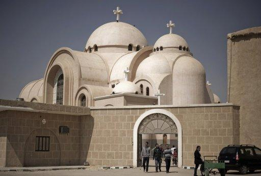 <p>Egyptians leave the Saint Bishoy monastery, the final resting place of Egypt's Coptic Pope Shenuda, in Wadi Natrun in the Beheira province, about 100 kms (60 miles) northwest of Cairo, in March 2012. The United States on Monday accused Egypt, China and European nations of harming religious freedom, citing a rising tide of anti-Semitism, laws banning Muslim veils and attacks on Coptic Christians.</p>