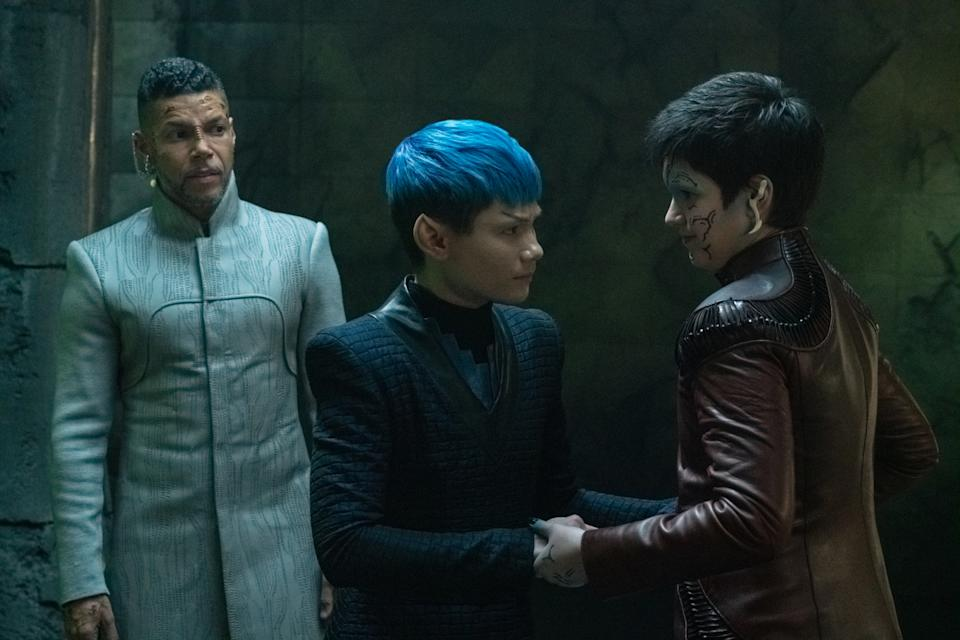 From left to right: Wilson Cruz, Ian Alexander and Blu del Barrio in 'Star Trek: Discovery' (Photo: Michael Gibson/CBS Interactive)