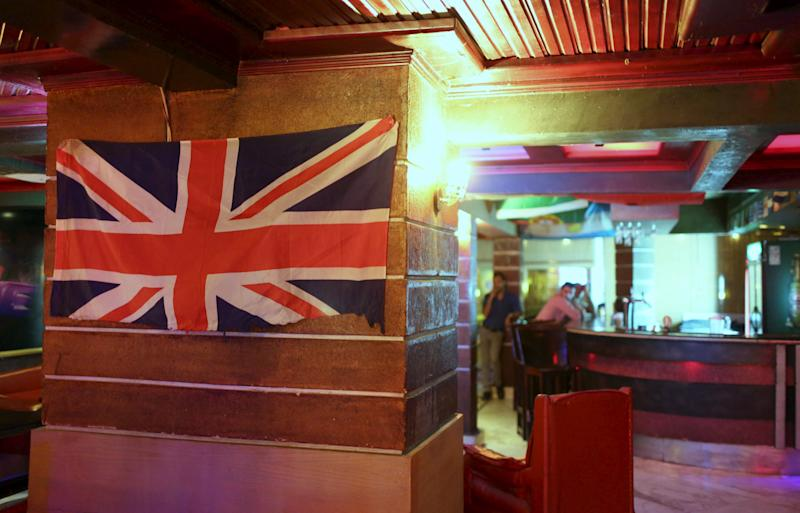A Union Jack is pictured as employees wait for customers at a British pub in Naama bay area at the Red Sea resort of Sharm el-Sheikh