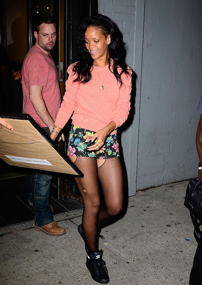 Rihanna isn't one to shy away from showing off skin. While at a recording studio in New York City recently she did just that in some super-short floral Daisy Dukes, which she paired with fishnet stockings ... ripped, of course. (5/1/2012)