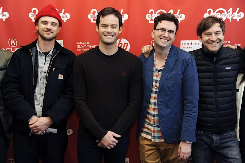 """Craig Johnson, second from right, director and co-writer of """"The Skeleton Twins,"""" poses with, from left, cast members Boyd Holbrook and Bill Hader and executive producer Mark Duplass at the premiere of the film at the 2014 Sundance Film Festival on Saturday, Jan. 18, 2014, in Park City, Utah. (Photo by Chris Pizzello/Invision/AP)"""