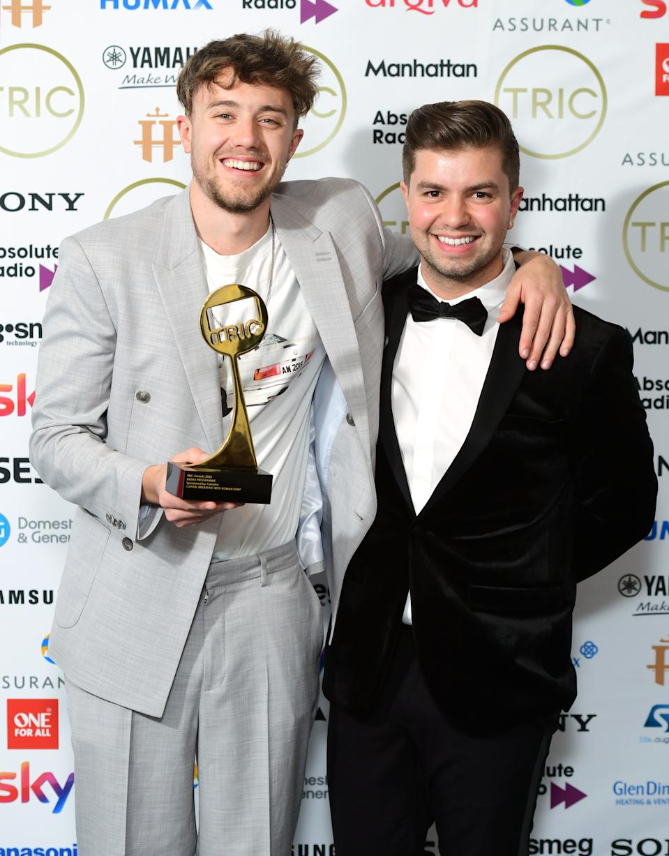 Roman Kemp (left) and Sonny Jay with the Radio Programme Award Sponsored by Yamaha at the TRIC Awards 2020 held at the Grosvenor Hotel, London. (Photo by Ian West/PA Images via Getty Images)