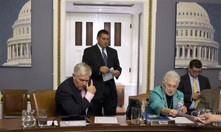 Chairman of the House Rules Committee, Representative Pete Session (R-TX) and Representative Virginia Foxx (R-NC) sit after a late-night meeting at the U.S. Capitol in Washington