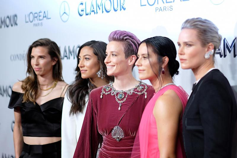 Tobin Heath, Christen Press, Megan Rapinoe, Ali Krieger and Ashlyn Harris (Dimitrios Kambouris/Getty Images for Glamour)