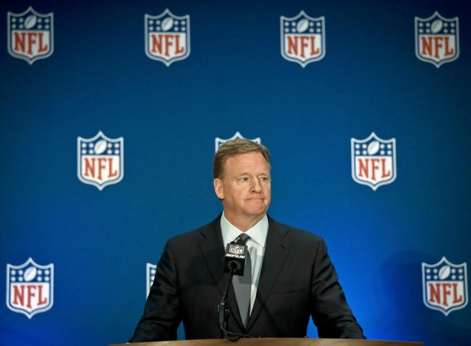 NFL commissioner Roger Goodell released a video statement on Friday night condemning racism and saying 'Black Lives Matter,' but it's fair to wonder how many NFL team owners share his sentiment. (AP Photo/Bebeto Matthews)