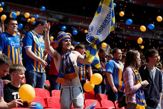 "Soccer Football - League One Play-Off Final - Rotherham United v Shrewsbury Town - Wembley Stadium, London, Britain - May 27, 2018 Shrewsbury Town fans Action Images/Carl Recine EDITORIAL USE ONLY. No use with unauthorized audio, video, data, fixture lists, club/league logos or ""live"" services. Online in-match use limited to 75 images, no video emulation. No use in betting, games or single club/league/player publications. Please contact your account representative for further details."
