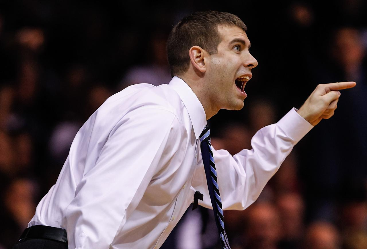 INDIANAPOLIS, IN - FEBRUARY 02: Head coach Brad Stevens of the Butler Bulldogs protests a call during the game against the Rhode Island Rams at Hinkle Fieldhouse on February 2, 2013 in Indianapolis, Indiana. Butler defeated Rhode Island 75-68. (Photo by Michael Hickey/Getty Images)