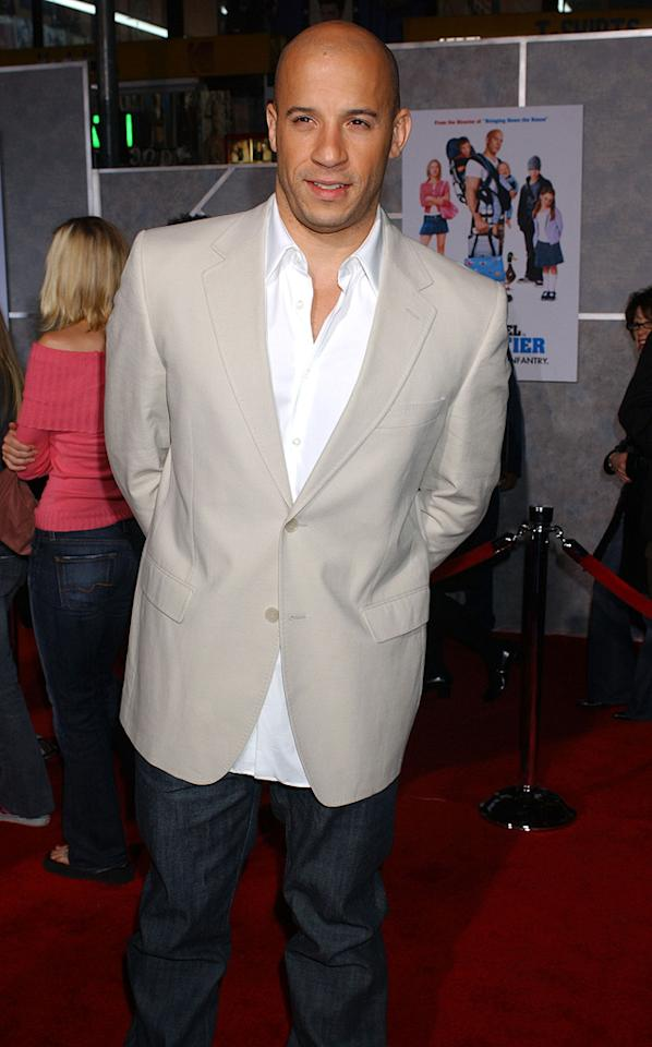"""<a href=""""http://movies.yahoo.com/movie/contributor/1800020716"""">Vin Diesel</a> at the Los Angeles premiere of <a href=""""http://movies.yahoo.com/movie/1808610030/info"""">The Pacifier</a> - 03/01/2005"""