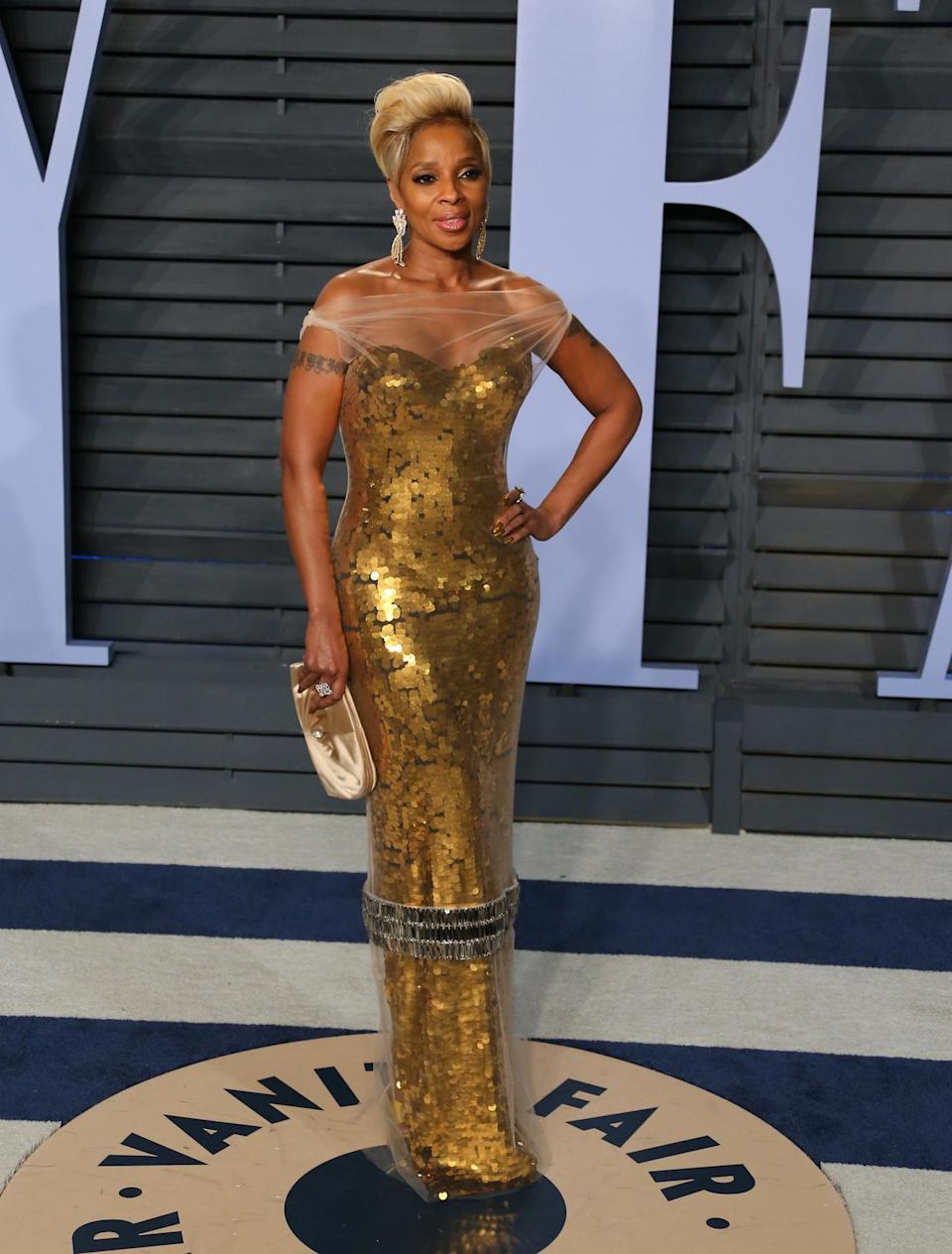 Mary J. Blige wearing custom Vera Wang (AFP/Getty Images)