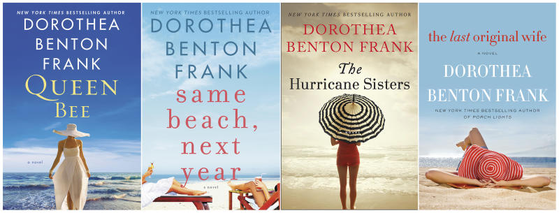"This combination photo of books images released by William Morrow shows novels, from left, ""Queen Bee,"" ""Same Beach, Next Year,"" ""The Hurricane Sisters,"" and ""The Last Original Wife,"" by author Dorothea Benton Frank. Frank, who set such best-sellers as ""Sullivan's Island"" in her native South Carolina, died Monday, Sept., 2, 2019, after a brief battle with leukemia. She was 67. (William Morrow via AP)"