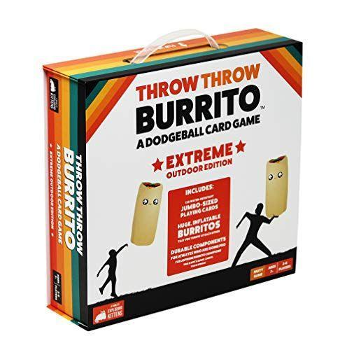 """<p><strong>Exploding Kittens LLC</strong></p><p>amazon.com</p><p><strong>$29.99</strong></p><p><a href=""""https://www.amazon.com/dp/B01ASIBA5M?tag=syn-yahoo-20&ascsubtag=%5Bartid%7C10063.g.37665315%5Bsrc%7Cyahoo-us"""" rel=""""nofollow noopener"""" target=""""_blank"""" data-ylk=""""slk:Shop Now"""" class=""""link rapid-noclick-resp"""">Shop Now</a></p><p>Deemed """"the world's first dodgeball card game,"""" someone was brilliant enough to come up with Throw Throw Burrito which is exactly how it sounds (but a plush burrito of course). Game time is only 15 minutes with an objective to create as many card matches as possible while dodging flying burritos. With that being said, it's probably best to not play this in the living room next to fragile heirlooms. Players must be quick to dodge, because if you're hit you will receive a token that will subtract from your total points. </p>"""