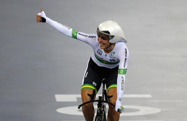Australia's Rebecca Wiasak celebrates after taking gold in the Women's Individual pursuit final during the 2016 Track Cycling World Championships at the Lee Valley VeloPark in London on March 2, 2016 (AFP Photo/Adrian Dennis)