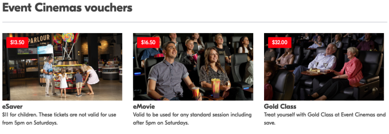 NRMA website showing cinema discounts offered to its members.
