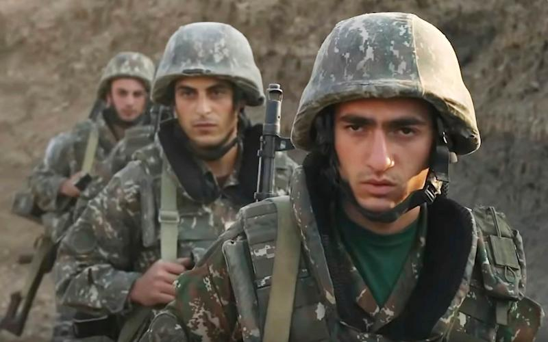 Armenian soldiers in the self-proclaimed Republic of Nagorno-Karabakh, Azerbaijan - Armenian Defence Ministry