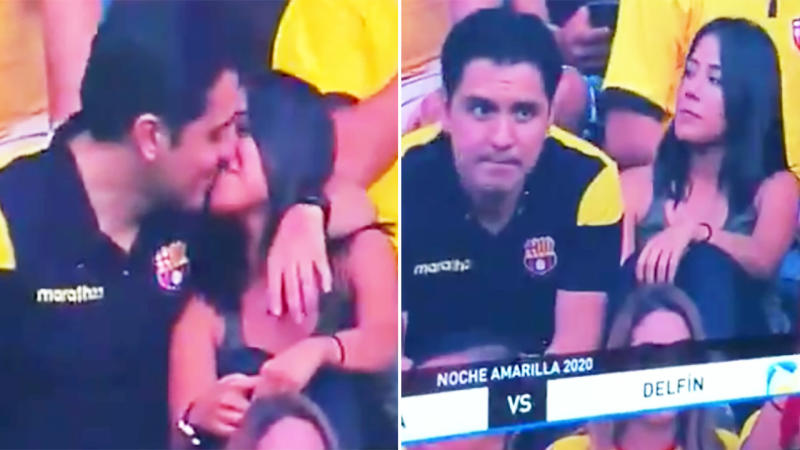 The football fan, pictured here cheating on his partner on kiss cam.