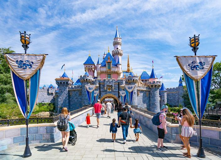 ANAHEIM, CA - JUNE 06: General views of Sleeping Beauty Castle at Disneyland, which has recently reopened after being closed to the public for over a year on June 06, 2021 in Anaheim, California.  (Photo by AaronP/Bauer-Griffin/GC Images)