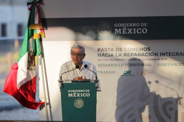 Mexico's President Andres Manuel Lopez Obrador speaks during a meeting with relatives of the 65 miners who died during an explosion at Pasta de Conchos coal mine, in San Juan de Sabinas