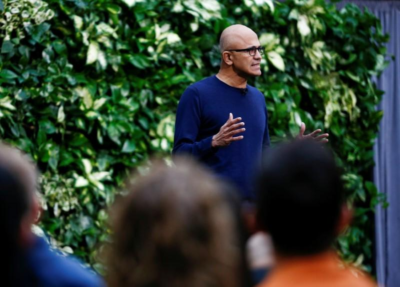 Microsoft CEO Nadella speaks as the company announces plans to be carbon negative by 2030 and to negate all the direct carbon emissions ever made by the company by 2050 at their campus in Redmond