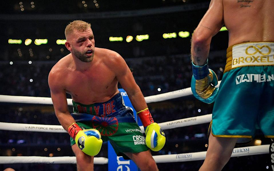 Saunders' right eye/cheek area was effected and brought about an end to the fight - USA TODAY Sports