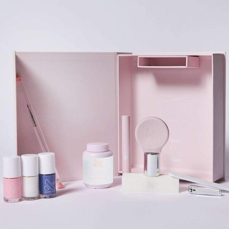 <p>Gift them everything they need to pamper themselves with this <span>Olive &amp; June The Everything Box</span> ($80).</p>