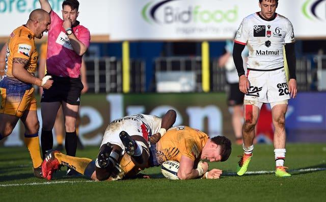 Exeter's Dave Ewers powers over for a try during his side's Heineken Champions Cup win against Lyon at Sandy Park