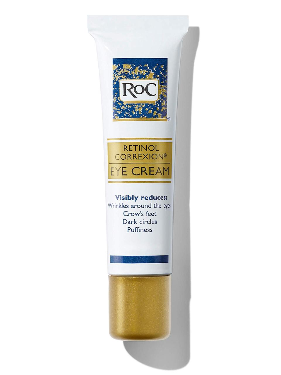 """<h3>RoC Retinol Correxion Anti-Aging Eye Cream Treatment</h3><br><strong>Ann</strong><br><br>""""I've been looking for a good product for puffiness and fine lines. This eye cream goes on smooth, is not sticky and absorbs very well. It's been about 8 weeks since my purchase, and I really love it. My morning puffiness has decreased, as well as crows feet. I'll definitely purchase again and want to try other retinol products in their line.""""<br><br><strong>RoC</strong> Retinol Correxion Anti-Aging Eye Cream Treatment, $, available at <a href=""""https://amzn.to/2NaZjCQ"""" rel=""""nofollow noopener"""" target=""""_blank"""" data-ylk=""""slk:Amazon"""" class=""""link rapid-noclick-resp"""">Amazon</a>"""