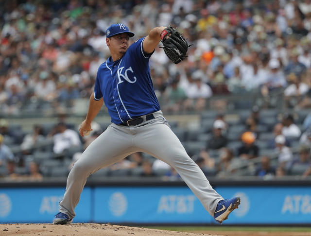 Kansas City Royals pitcher Brad Keller delivers against the New York Yankees during the first inning of a baseball game, Saturday, July 28, 2018, in New York. (AP Photo/Julie Jacobson)