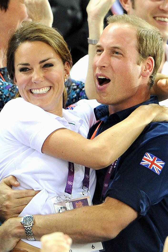 Kate and William celebrate as Britain wins a cycling race during the Olympic Games in 2012 (Getty Images)