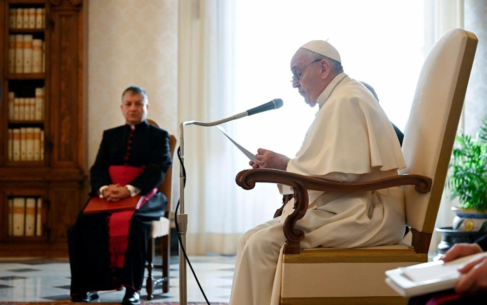 Pope Francis continues to deliver his weekly general audience from the Apostolic Palace amid the pandemic - Reuters