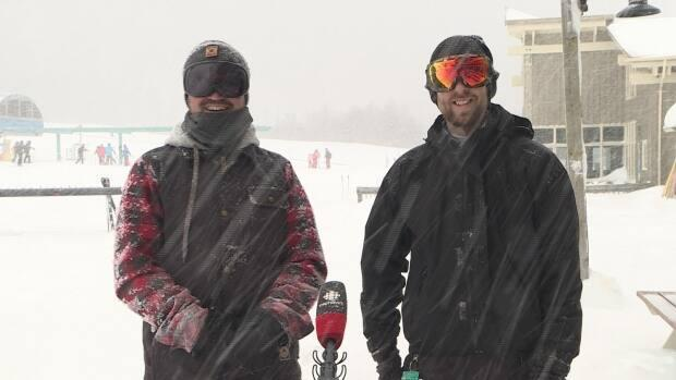 Joey Pearce and Dustin Parsons of Pasadena say Day 1 of the Marble Mountain ski season has been epic.