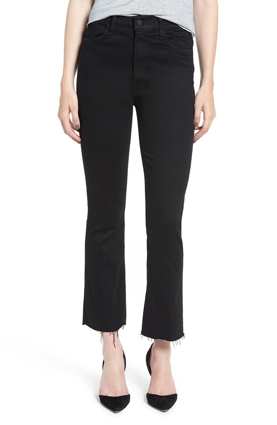 <p>These <span>MOTHER The Hustler High Waist Ankle Fray Jeans</span> ($198) would look great with heels or booties.</p>