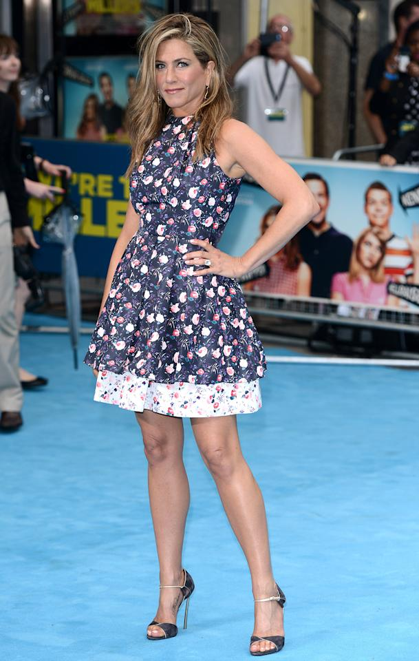 "<b>Who:</b> Jennifer Aniston<br /><br /><b>Wearing:</b> Christian Dior floral frock, Casadei sandals<br /><br /><b>Where:</b> <a href=""http://movies.yahoo.com/movie/were-the-millers/"">""We're The Millers""</a> premiere in London"