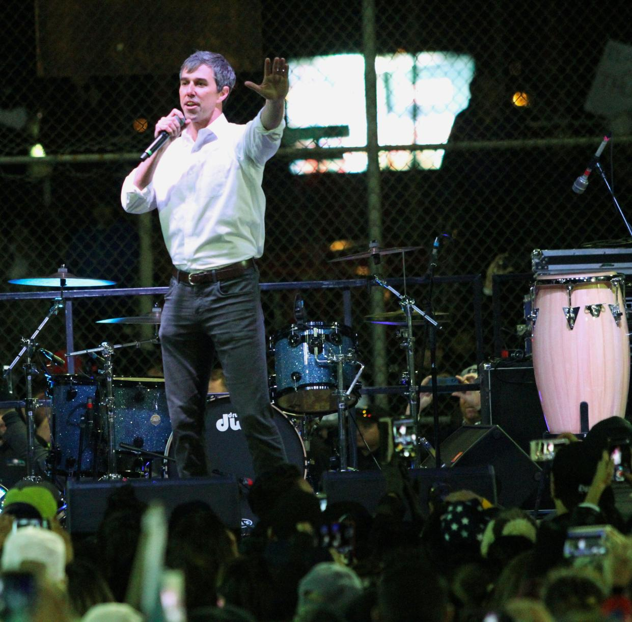 Former U.S. Rep. Beto O'Rourke speaks to a crowd inside a ballpark across the street from the president's rally. (Photo: Rudy Gutierrez/AP)