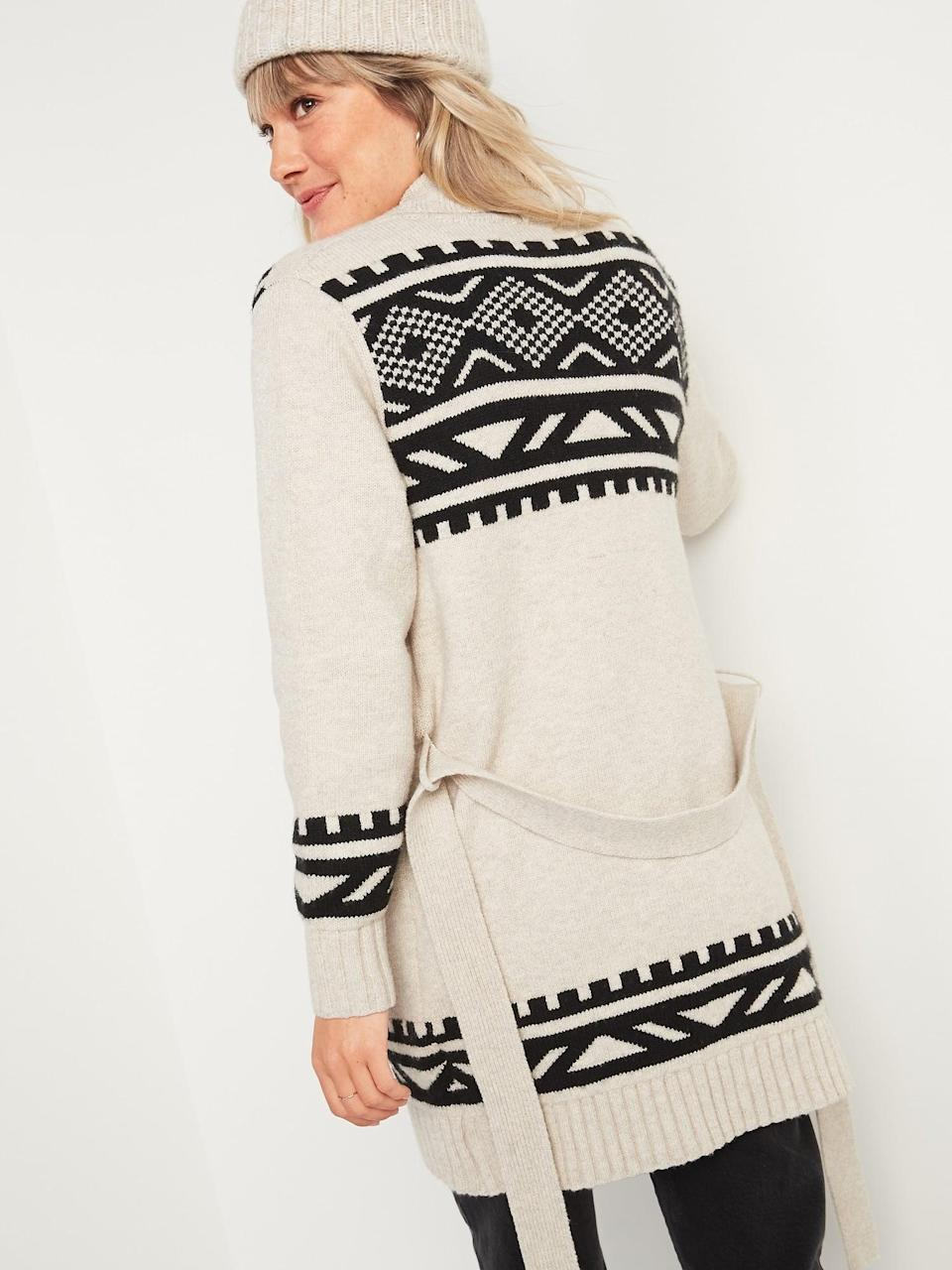 <p>This <span>Cozy Fair Isle Tie-Belt Cardigan Sweater</span> ($55) is nice and big - perfect for staying warm.</p>