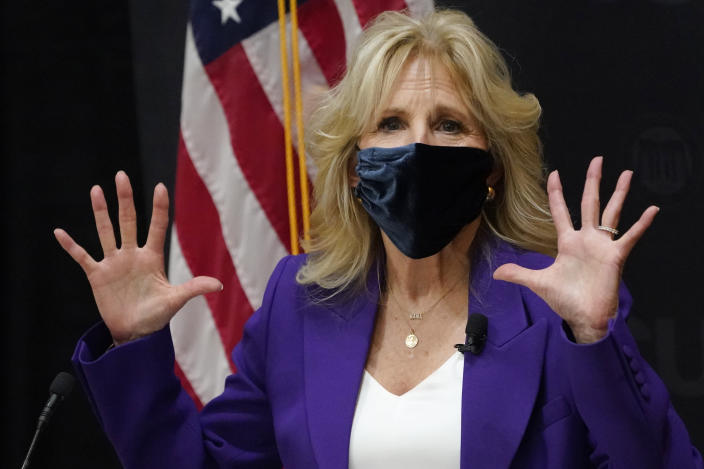 First lady Jill Biden, gestures as she speaks during a visit to the Massey Cancer center at Virginia Commonwealth University for a discussion about cancer disparities. in Richmond, Va., Wednesday, Feb. 24, 2021. (AP Photo/Steve Helber)