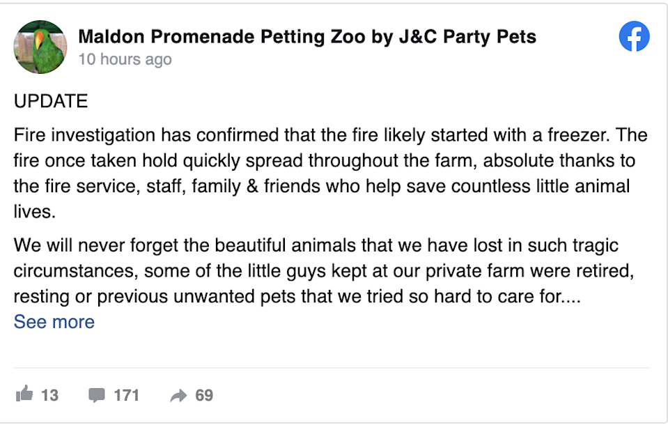 Meercats and a giant tortoise were among the 25 animals that died after a fire broke out at a popular petting zoo in Essex (Maldon Promenade Petting Zoo by J&C Party Pets / Facebook)