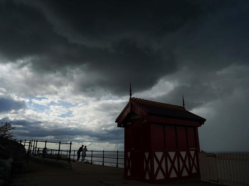 Dark storm clouds pass over the cliff lift in Saltburn By The Sea: Getty Images