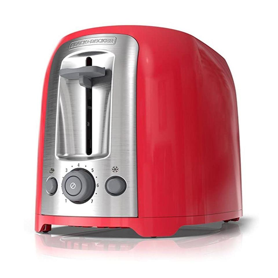 """<p><strong>BLACK+DECKER</strong></p><p>amazon.com</p><p><strong>$25.00</strong></p><p><a href=""""https://www.amazon.com/BLACK-DECKER-2-Slice-Toaster-TR1278RM/dp/B00CHJDJJQ?tag=syn-yahoo-20&ascsubtag=%5Bartid%7C10055.g.4921%5Bsrc%7Cyahoo-us"""" rel=""""nofollow noopener"""" target=""""_blank"""" data-ylk=""""slk:Shop Now"""" class=""""link rapid-noclick-resp"""">Shop Now</a></p><p>The brushed stainless steel Black + Decker 2-Slice Toaster <strong>proves you don't need to spend a bundle to get a good toaster</strong>. If you have bread for breakfast on the reg, you'll love that this model can toast bagels, big homemade slices of bread and English muffins alike. Because of its low price and small countertop footprint, it's great for dorm rooms, kitchens with minimal counter space and anyone on a budget. It's available in red or <a href=""""https://www.amazon.com/BLACK-DECKER-2-Slice-Stainless-TR1278B/dp/B008YS1ZAO/ref=sr_1_4?tag=syn-yahoo-20&ascsubtag=%5Bartid%7C10055.g.4921%5Bsrc%7Cyahoo-us"""" rel=""""nofollow noopener"""" target=""""_blank"""" data-ylk=""""slk:black"""" class=""""link rapid-noclick-resp"""">black</a>.</p>"""