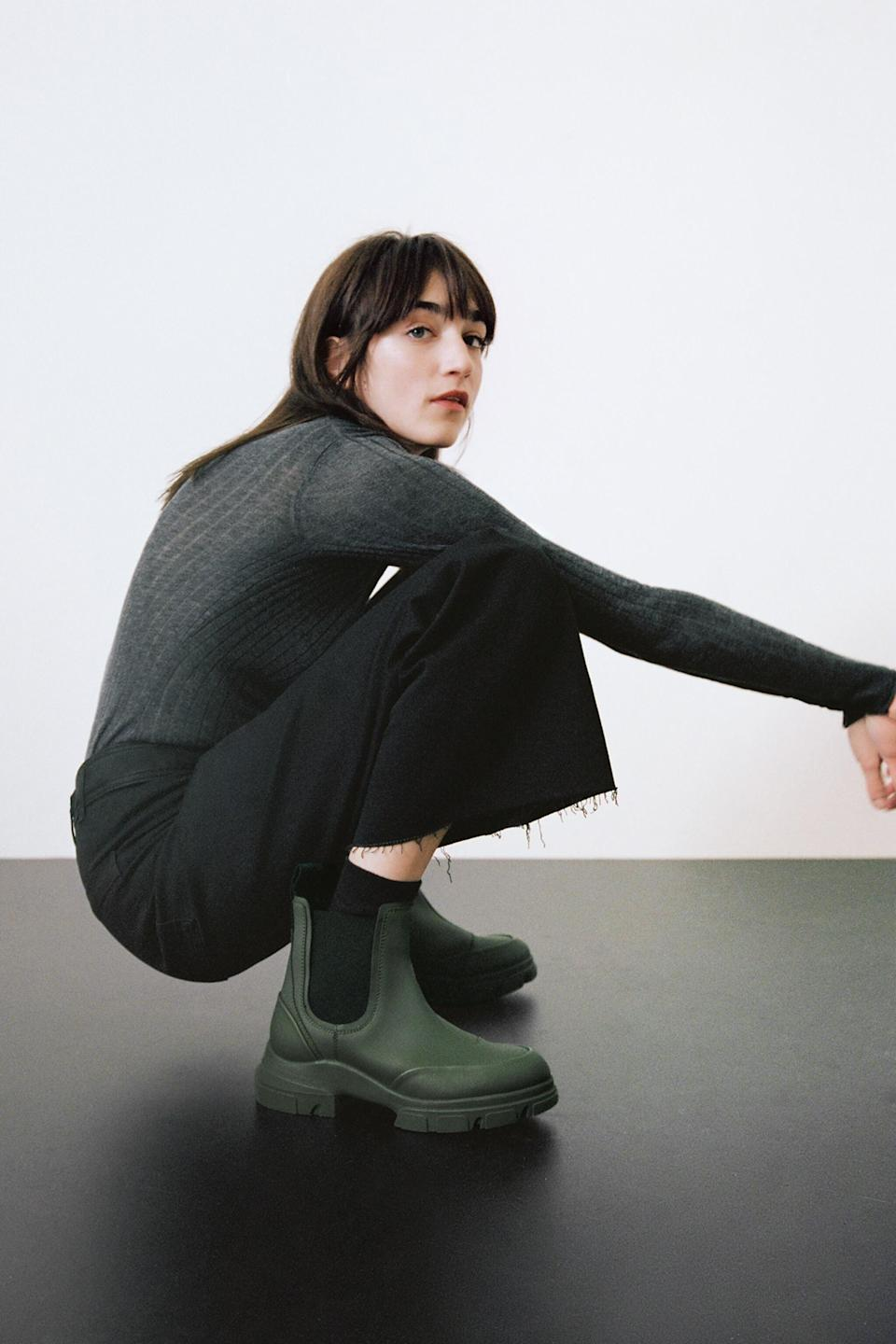 <p>Whether you prefer a tall height or an ankle boot, it's all about the sturdy foundation of a thick, often treaded, sole. Allow these to ground your outfit and even offer a touch of edge. When you opt for a Chelsea style, you'll be mastering two trends with one shoe.</p> <p><span>Zara Low Heel Rubberized Ankle Boots</span> ($129)</p>