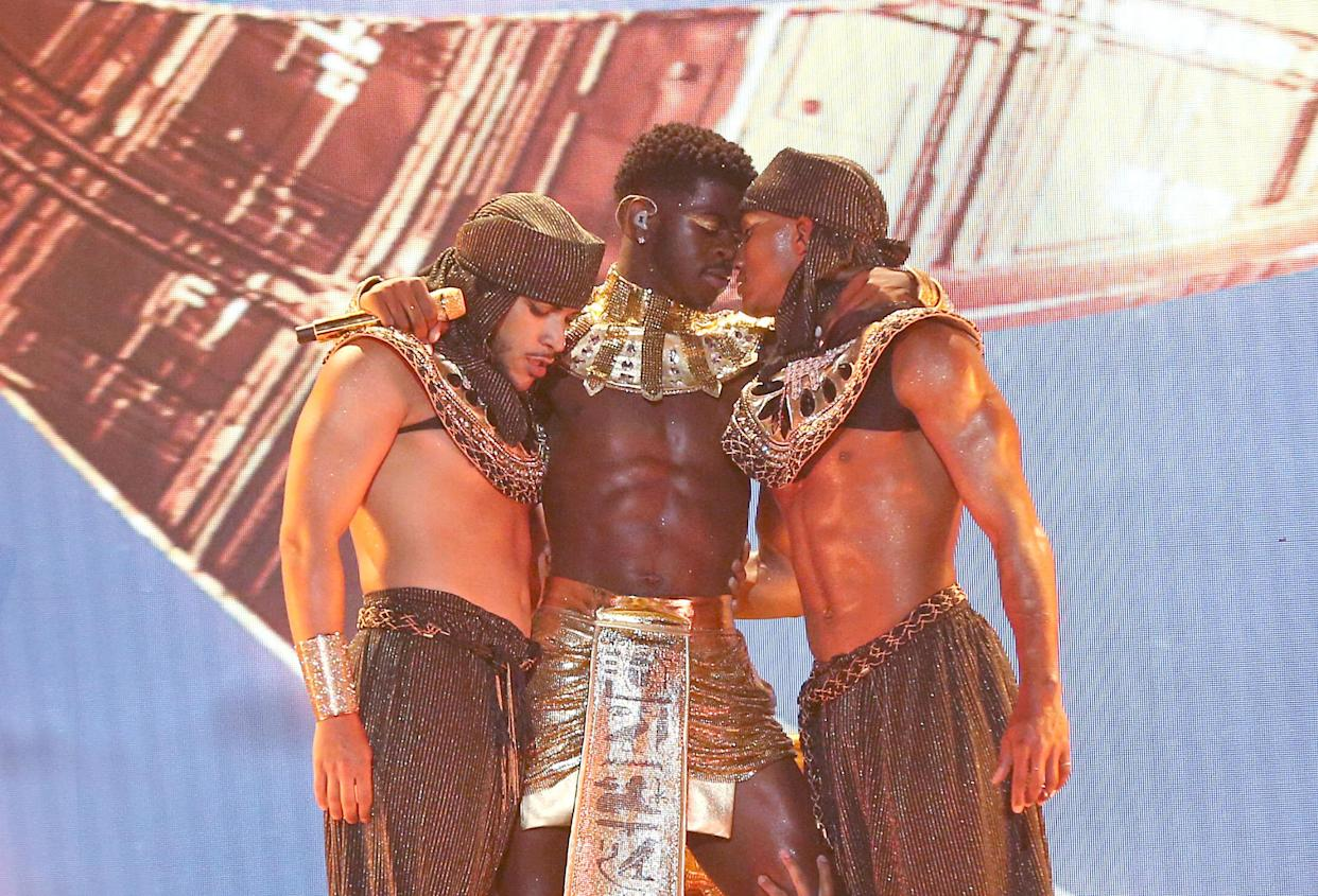 Lil Nas X performs  at the 2021 BET Awards. (Photo: Bennett Raglin/Getty Images for BET)