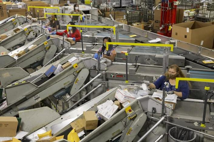 """The U.S. Postal Service processing and distribution center the City of Industry on May 14. <span class=""""copyright"""">(Los Angeles Times)</span>"""