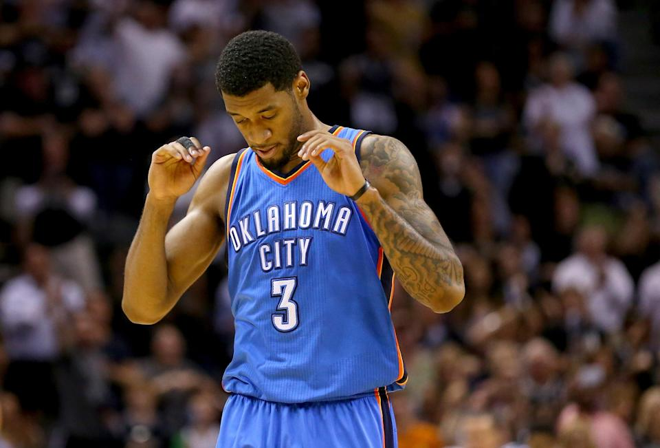 Perry Jones of the Oklahoma City Thunder, pictured during an NBA game at AT&T Center in San Antonio, Texas, on May 21, 2014 (AFP Photo/Ronald Martinez)