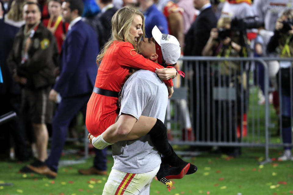 Patrick Mahomes and Brittany Matthews celebrate after February's Super Bowl win. (Andy Lyons/Getty Images)